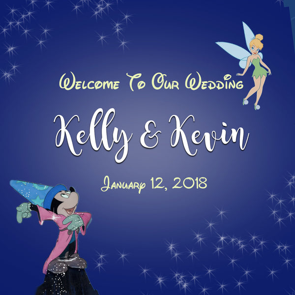 Mickey and Tinkerbell wedding welcome bag labels