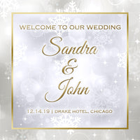 (sku368) winter wedding | welcome bag labels | Gable box stickers | Snowflake design - Best Welcome Bags