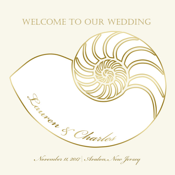 (sku446) Nautilus seashell | welcome bag label | Gable box sticker | beach wedding - Best Welcome Bags