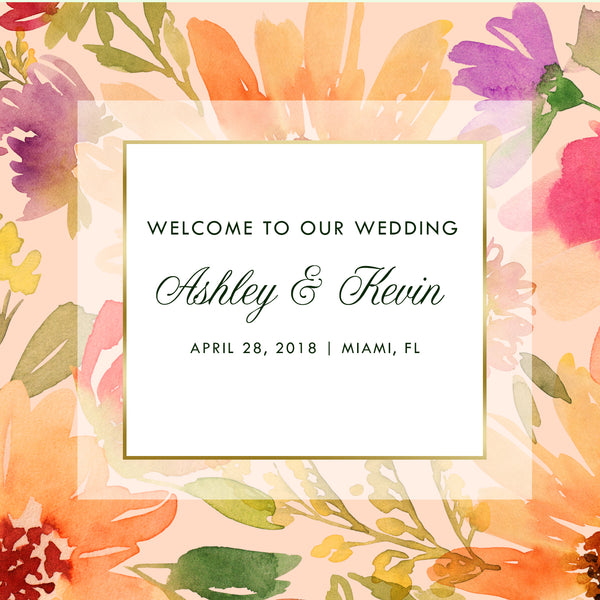 summer floral wedding welcome bag labels | gable box stickers