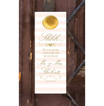 Broad blush stripe with gold text wedding door hanger, hotel bag