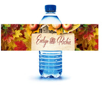 (sku363) Autumn event | custom water bottle label | fall apples | fits mini to standard bottle - Best Welcome Bags