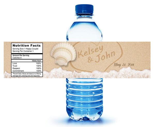 names in sand water bottle label with novelty nutrition facts