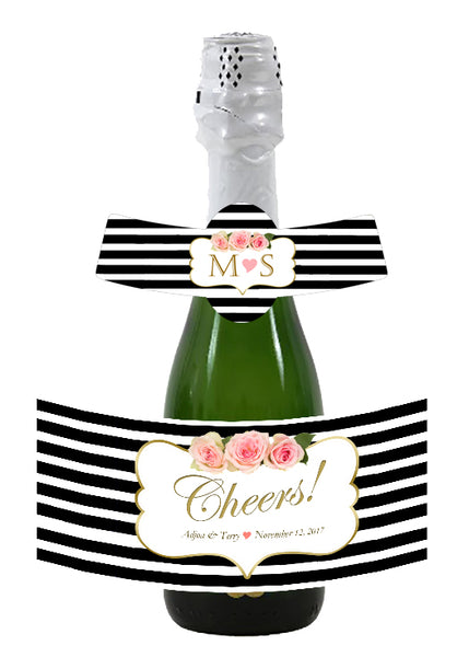 black stripe mini wine, champagne label, pink n gold accents