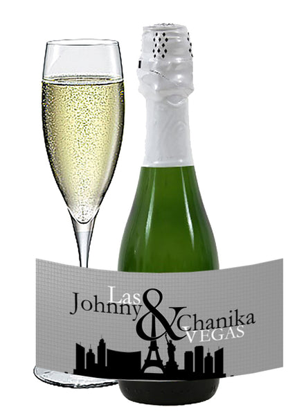(sku535a) Las Vegas mini wine bottle sticker | mini champagne label | Vegas wedding - Best Welcome Bags