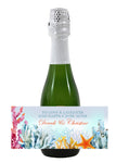 bright ocean coral mini wine champagne label 4 wedding favor