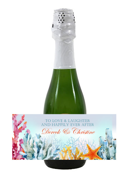 (sku413) ocean coral mini wine, champagne label for hotel guest welcome bag, wedding favor