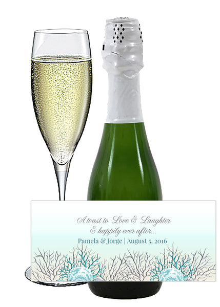 (sku424b) mini champagne label |mini wine bottle stickers | Teal + silver sea coral - Best Welcome Bags
