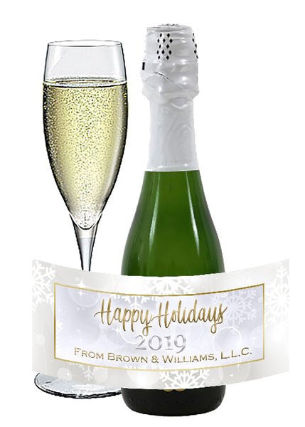 (sku372a) Christmas mini wine labels | holiday mini champagne stickers | office party favor - Best Welcome Bags