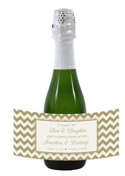any color chevron mini wine or champagne bottle labels