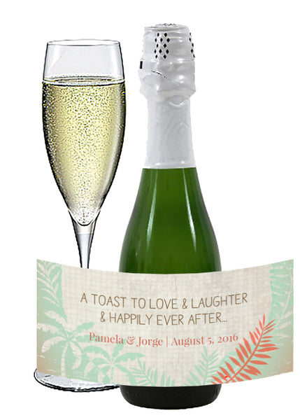 (sku421) rustic mini champagne label | Destination wedding | palm mini wine bottle stickers - Best Welcome Bags