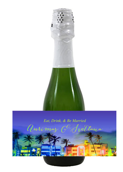 (sku519) Miami mini wine bottle label | Miami Beach mini champagne sticker | beach party - Best Welcome Bags