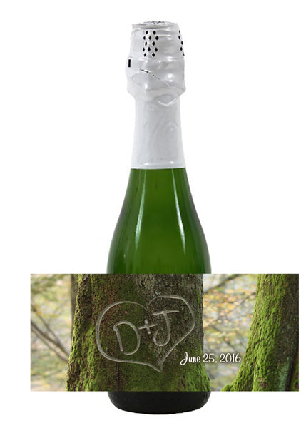 initials in tree mini wine, champagne label 4 hotel wedding favor