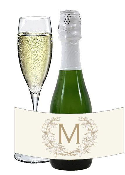 (sku113) wreath monogram mini wine bottle labels | mini champagne bottle labels