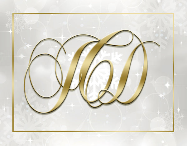 (sku376) Winter monogram folded note card | holiday thank-you note