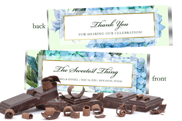 (sku028) Hydrangea Hershey chocolate bar wrapper | candy bar label | chocolate bar sticker - Best Welcome Bags