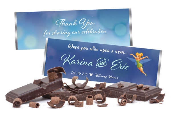 (sku654) Disney Hershey chocolate wrapper | Tinkerbell candy bar label | wedding favor - Best Welcome Bags