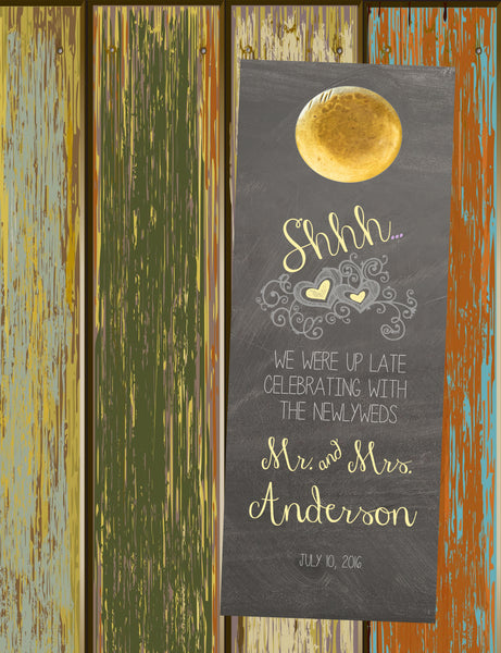 Rustic chalkboard do not disturb wedding door hanger