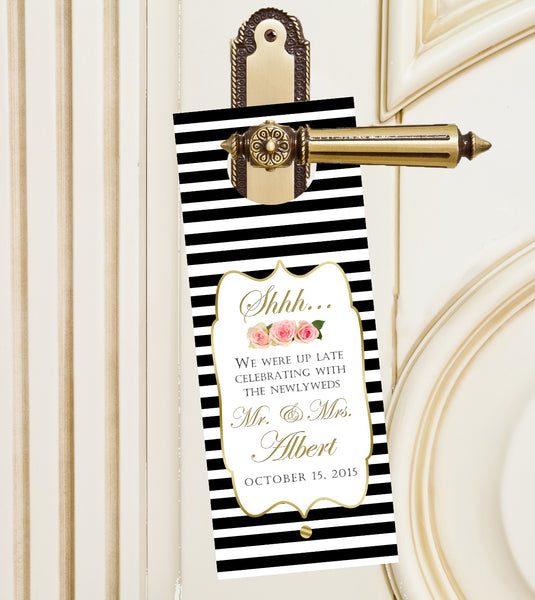 (sku103) black stripe do not disturb door hangers  | wedding favor | hotel guest door sign - Best Welcome Bags