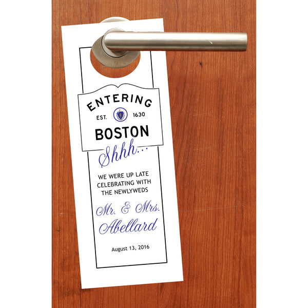 (sku524) Boston party favor | Do not disturb signs | wedding door hangers - Best Welcome Bags