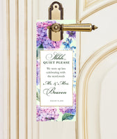 do-not-disturb door hanger | pink purple hydrangea wedding