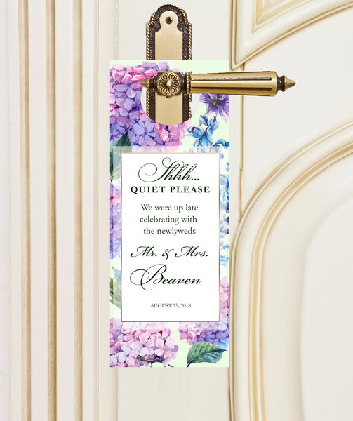 pink + purple hydrangea do-not-disturb wedding door hanger