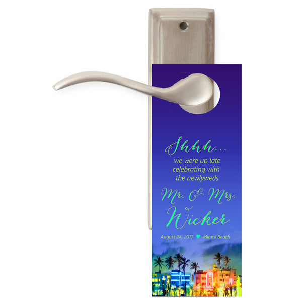 Miami Beach do not disturb wedding door hanger hotel favor