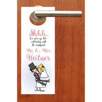 (sku305) cartoon bride + groom | do not disturb sign | wedding door hanger | party favor - Best Welcome Bags