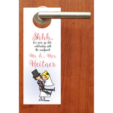 (sku305) cartoon bride + groom wedding do not disturb door hanger
