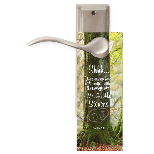 do not disturb sign | initials in tree | wedding door hangers | party favor - Best Welcome Bags