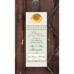 (sku062) pink n sage gingham do not disturb wedding door hangers | hotel guest favors - Best Welcome Bags