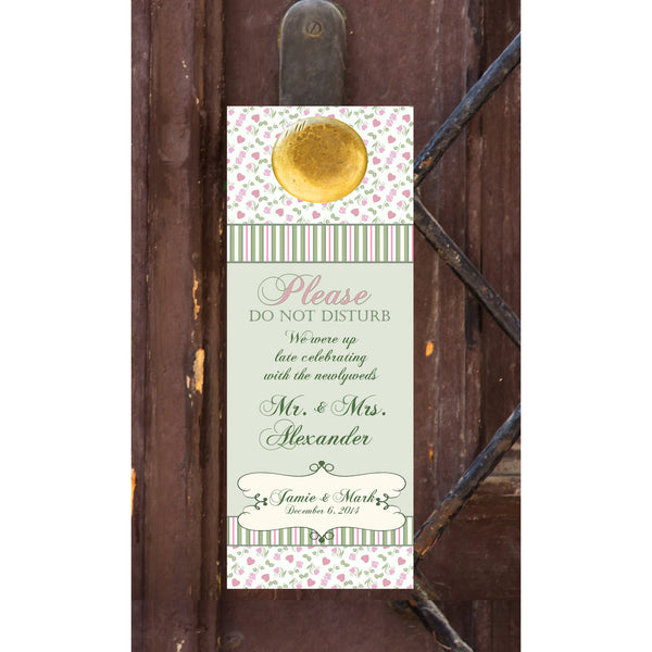 pink n sage gingham do not disturb wedding door hanger