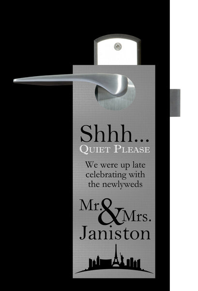 gold or silver Las Vegas do not disturb wedding door hanger