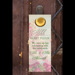 Pink n sage floral do not disturb wedding door hanger hotel favor