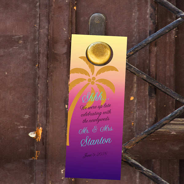 (sku453) Palm tree | do not disturb sign | wedding door hanger | beach party favor - Best Welcome Bags