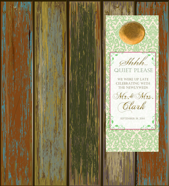 pale green ivory do not disturb door hanger wedding favor