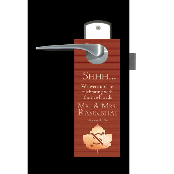 monogram autumn fall do not disturb wedding door hanger favor