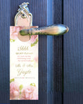 Soft blush roses do not disturb wedding door hanger