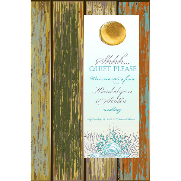 silver teal sea coral do not disturb wedding door hanger 4 hotel