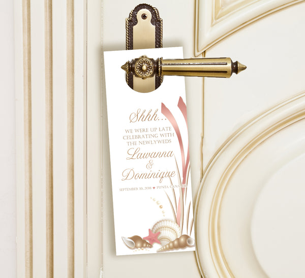 gold seashell do not disturb wedding door hanger hotel favor
