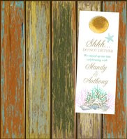 (sku387) Custom gold coral beach wedding do not disturb door hanger