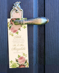 vintage blush floral hotel wedding door hanger, do not disturb