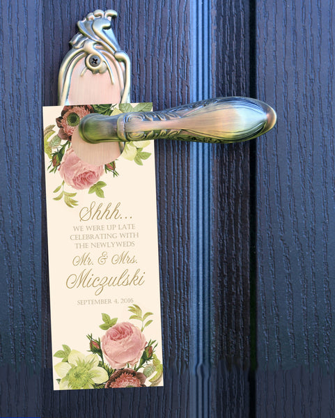 (sku117) Blush roses do not disturb door hanger | wedding favor | hotel guest door sign - Best Welcome Bags