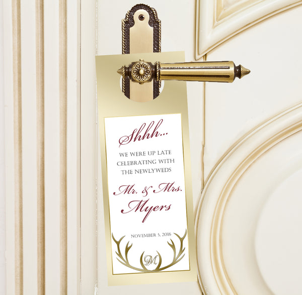 The hunt is over do not disturb wedding door hanger 4 hotel guest