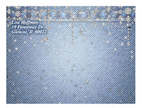 (sku693a) Denim + Diamonds folded note card | thank-you card | personal stationery - Best Welcome Bags