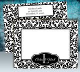 (sku148) custom monogram black damask folded note card | thank-you card