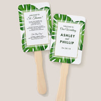 (sku462a) Giant palm wedding fan | custom fan welcome note | itinerary | program - Best Welcome Bags