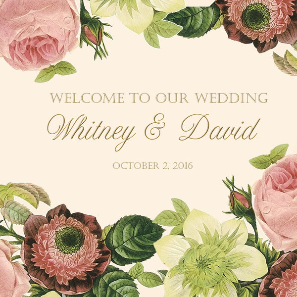Vintage blush floral on ivory wedding welcome bag label