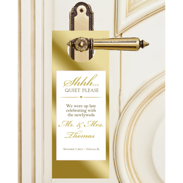 gold ink frame hotel guest door hanger, wedding do not disturb