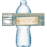 vintage sage n lace water bottle label